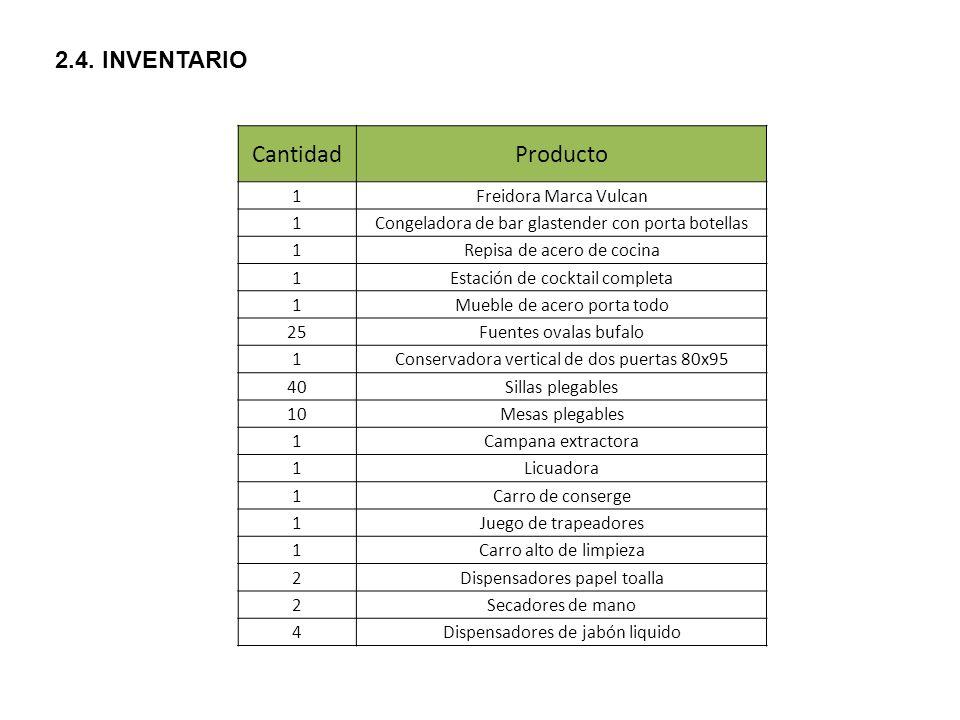 Cantidad Producto 2.4. INVENTARIO 1 Freidora Marca Vulcan