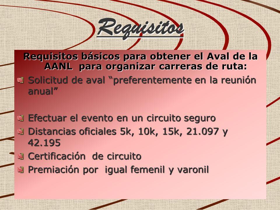 Requisitos Requisitos básicos para obtener el Aval de la AANL para organizar carreras de ruta: