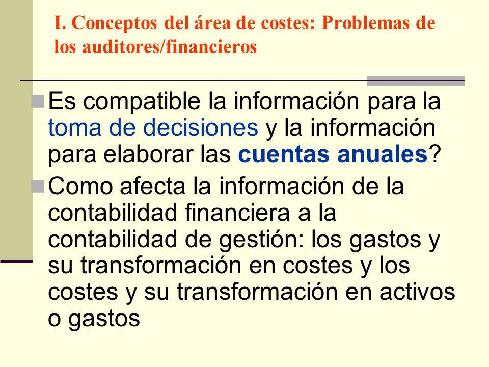I. Conceptos del área de costes: Problemas de los auditores/financieros