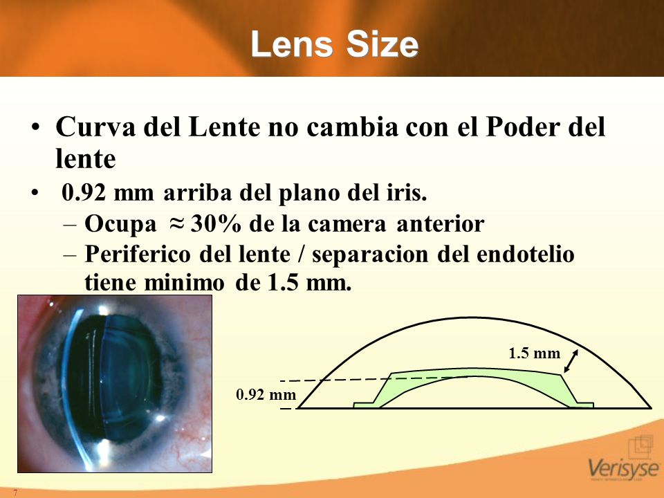 Lens Size Curva del Lente no cambia con el Poder del lente