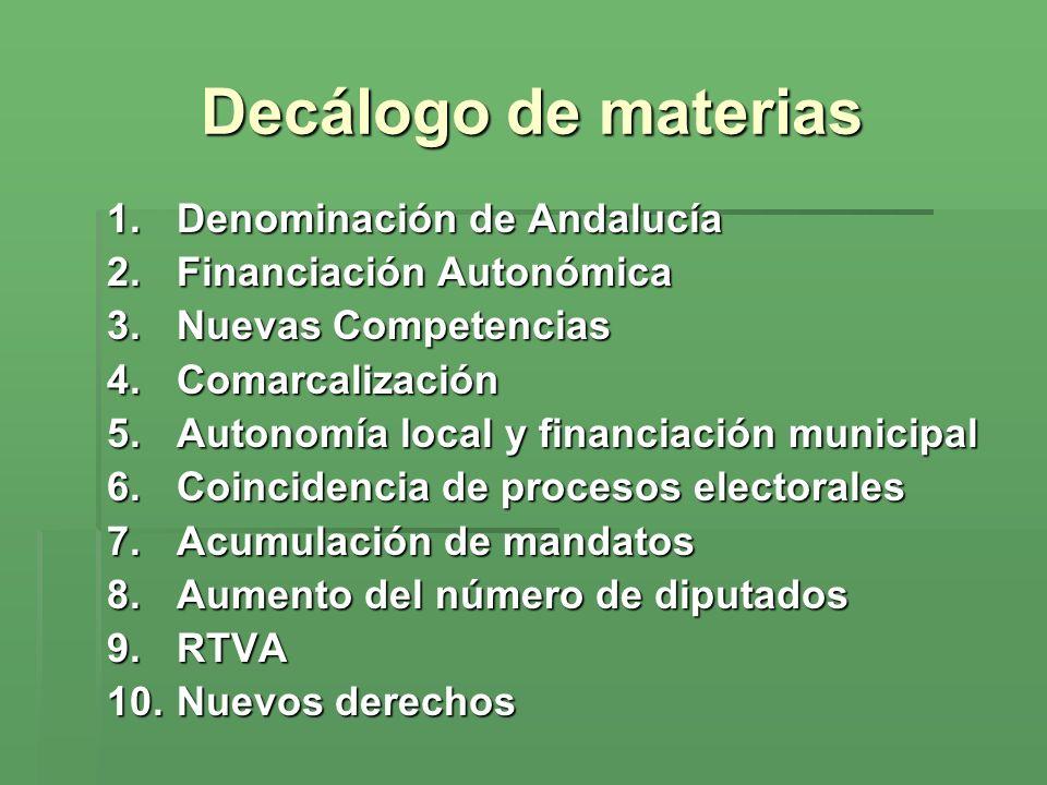 Decálogo de materias Denominación de Andalucía Financiación Autonómica