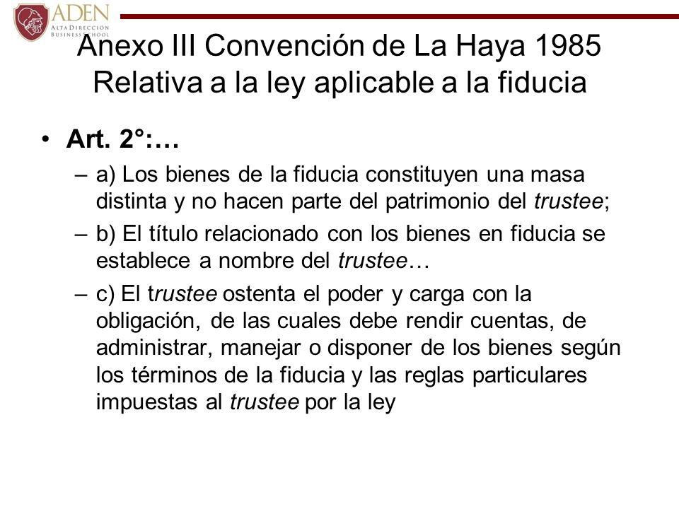 Anexo III Convención de La Haya 1985 Relativa a la ley aplicable a la fiducia
