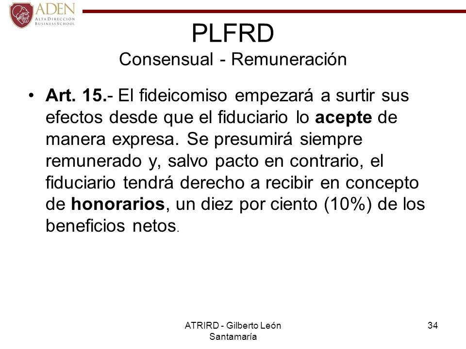 PLFRD Consensual - Remuneración