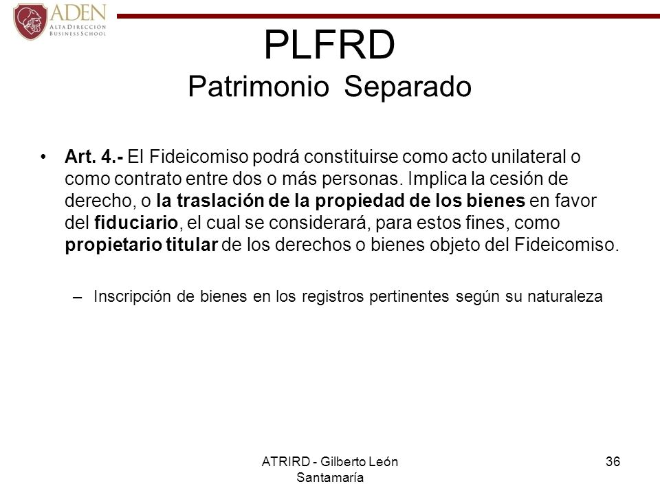 PLFRD Patrimonio Separado