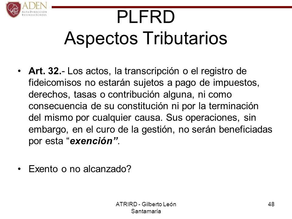 PLFRD Aspectos Tributarios