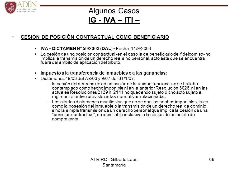 Algunos Casos IG - IVA – ITI –