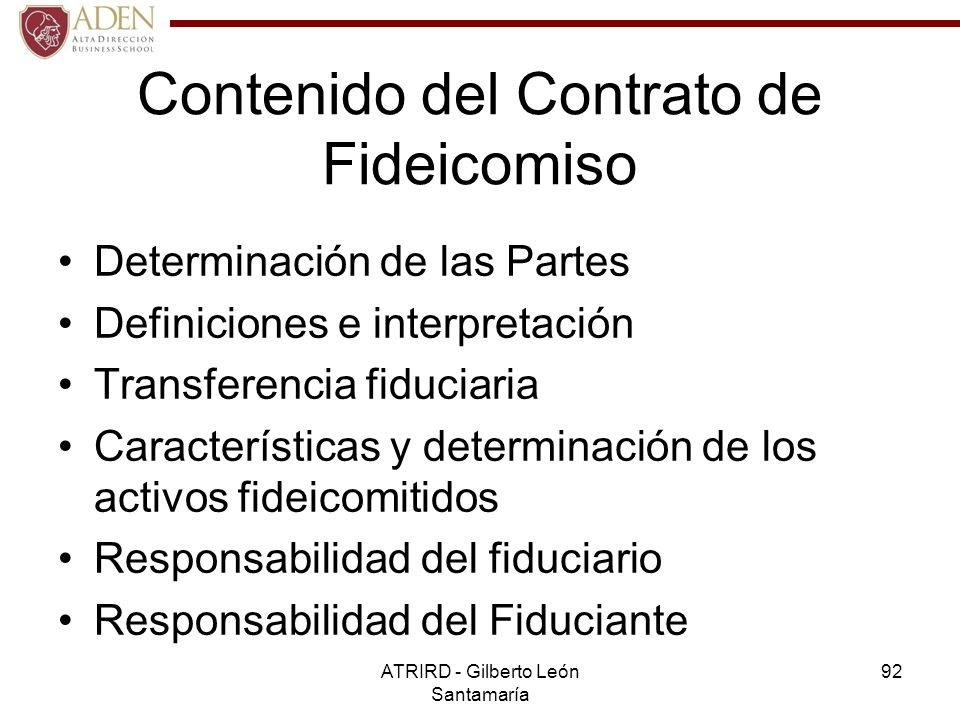 Contenido del Contrato de Fideicomiso
