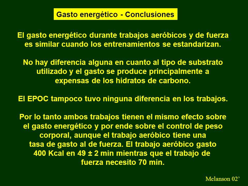 Gasto energético - Conclusiones