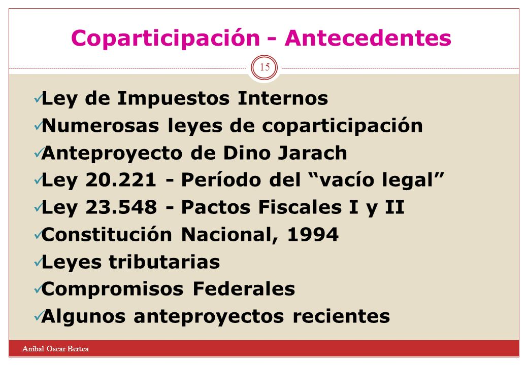 Coparticipación - Antecedentes