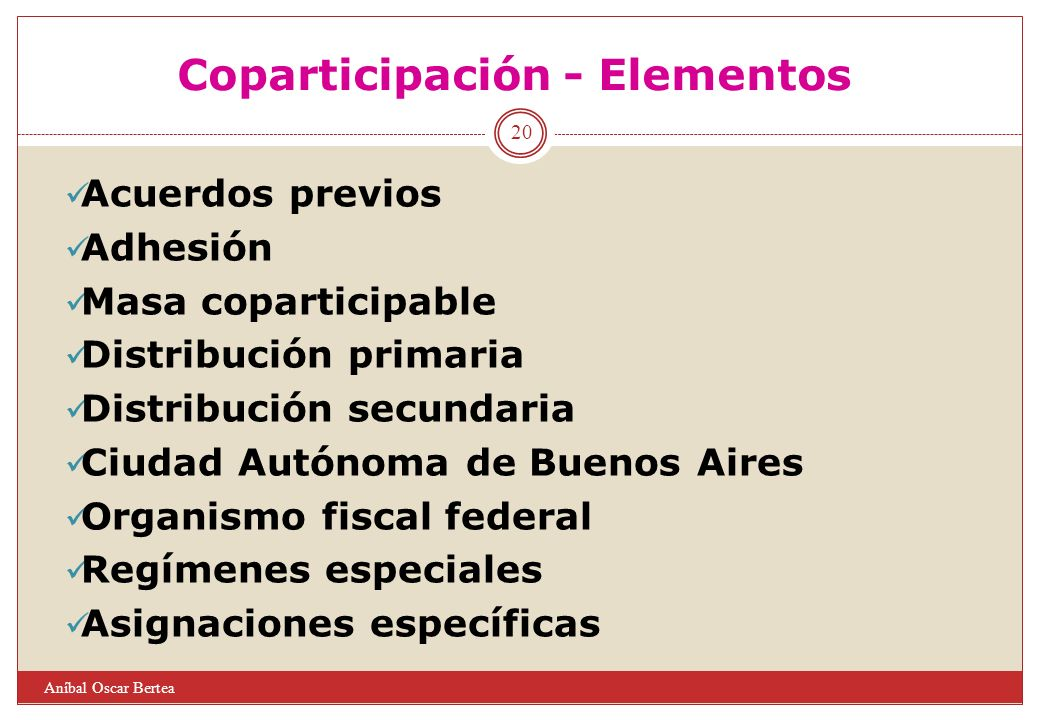 Coparticipación - Elementos