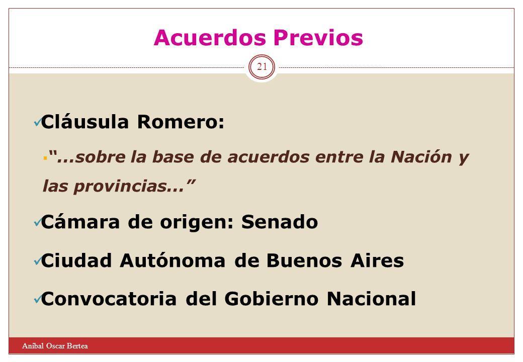 Acuerdos Previos Cláusula Romero: Cámara de origen: Senado