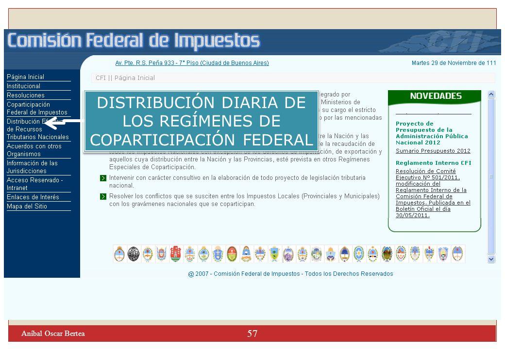 DISTRIBUCIÓN DIARIA DE LOS REGÍMENES DE COPARTICIPACIÓN FEDERAL