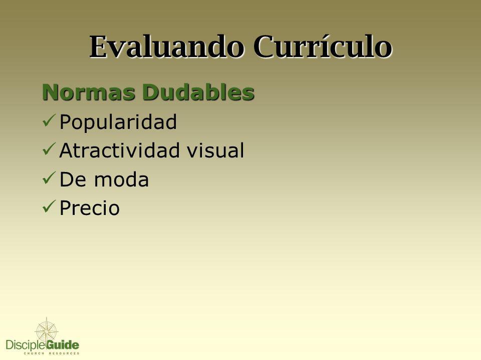 Evaluando Currículo Normas Dudables Popularidad Atractividad visual