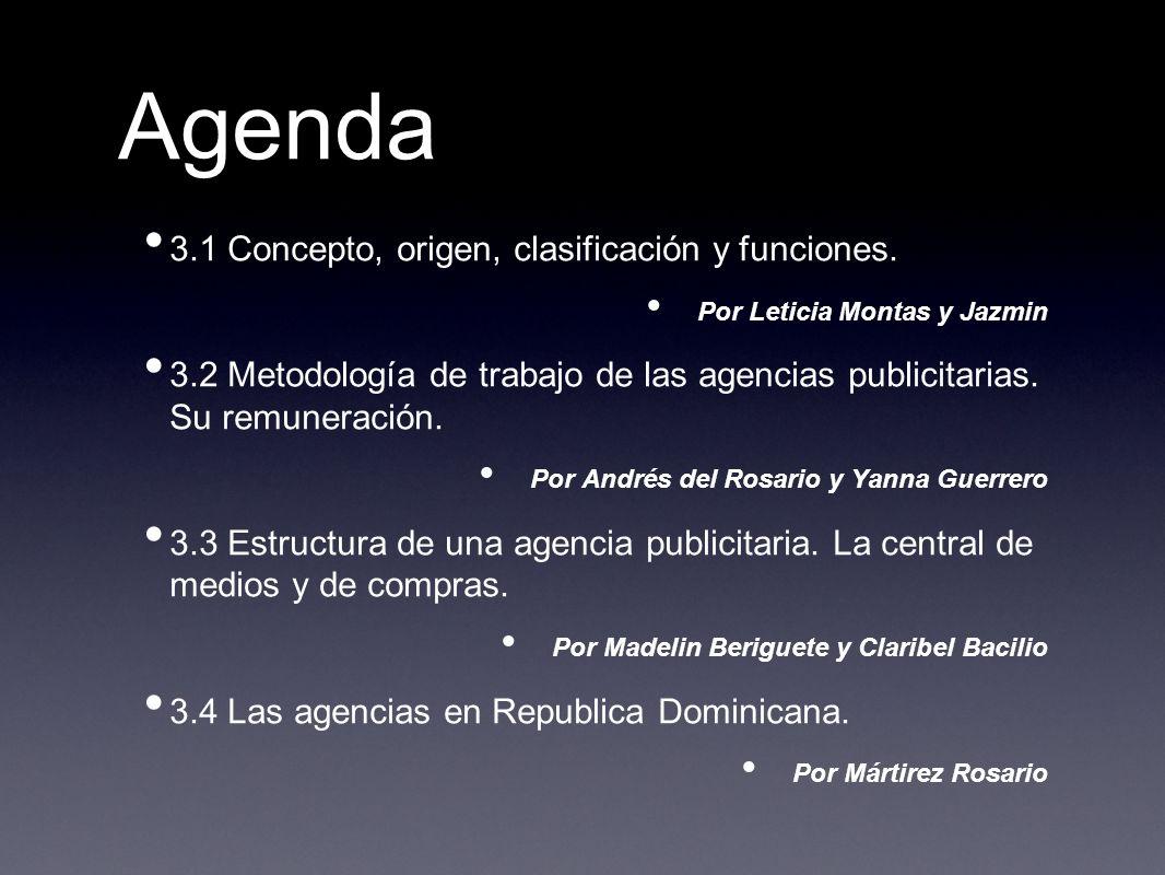 Agenda 3.1 Concepto, origen, clasificación y funciones.
