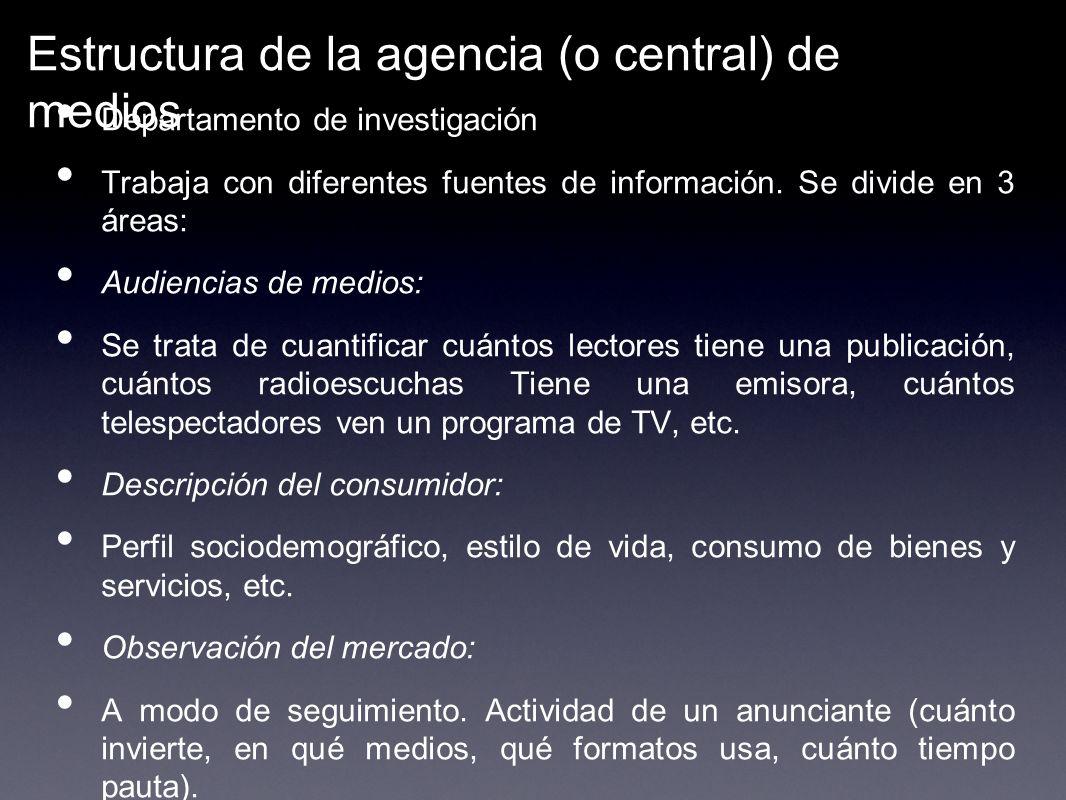 Estructura de la agencia (o central) de medios