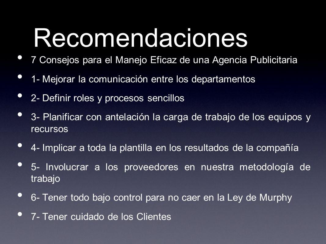 Recomendaciones 7 Consejos para el Manejo Eficaz de una Agencia Publicitaria. 1- Mejorar la comunicación entre los departamentos.