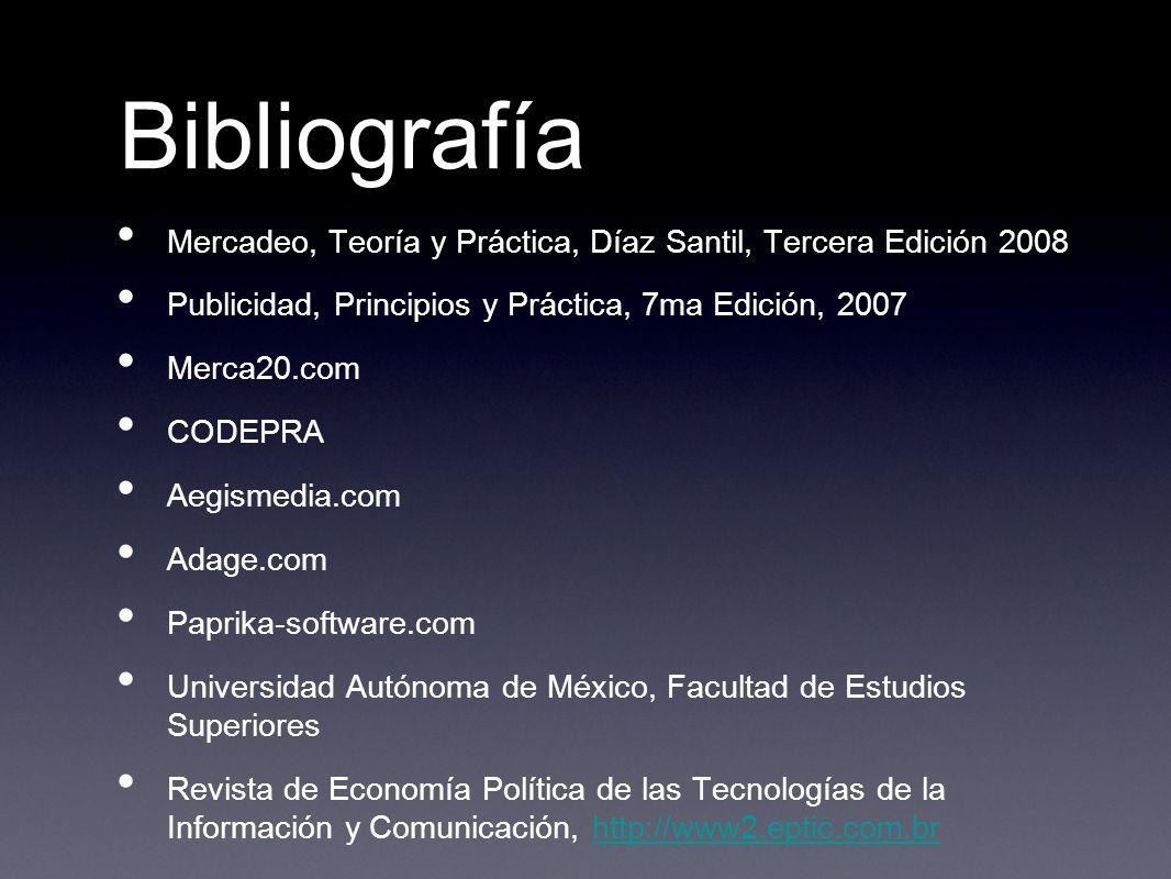 Bibliografía Mercadeo, Teoría y Práctica, Díaz Santil, Tercera Edición 2008. Publicidad, Principios y Práctica, 7ma Edición, 2007.