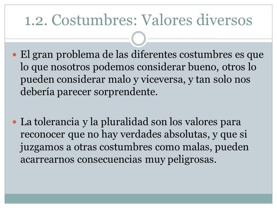 1.2. Costumbres: Valores diversos
