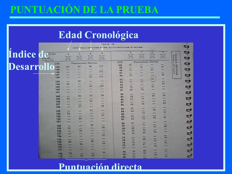 PUNTUACIÓN DE LA PRUEBA