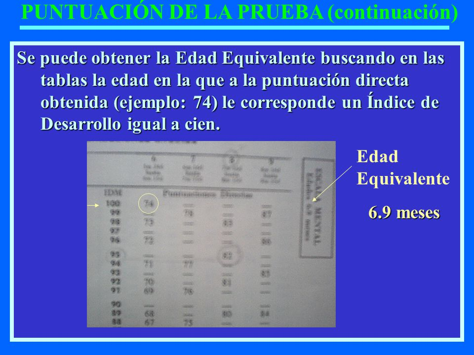 PUNTUACIÓN DE LA PRUEBA (continuación)