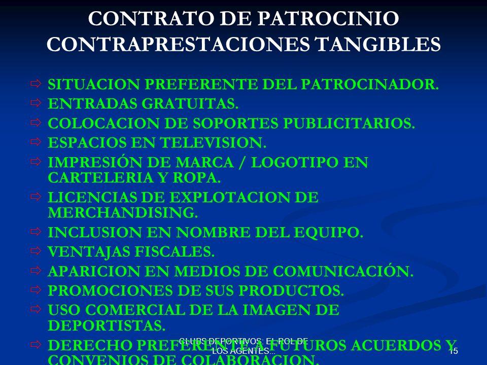 CONTRATO DE PATROCINIO CONTRAPRESTACIONES TANGIBLES