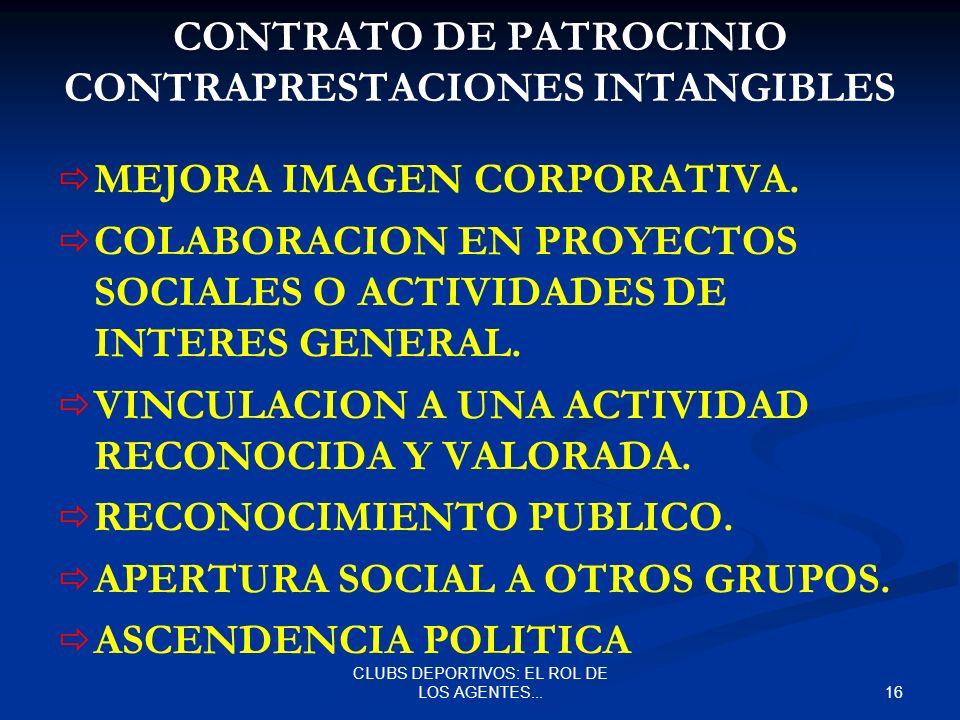 CONTRATO DE PATROCINIO CONTRAPRESTACIONES INTANGIBLES