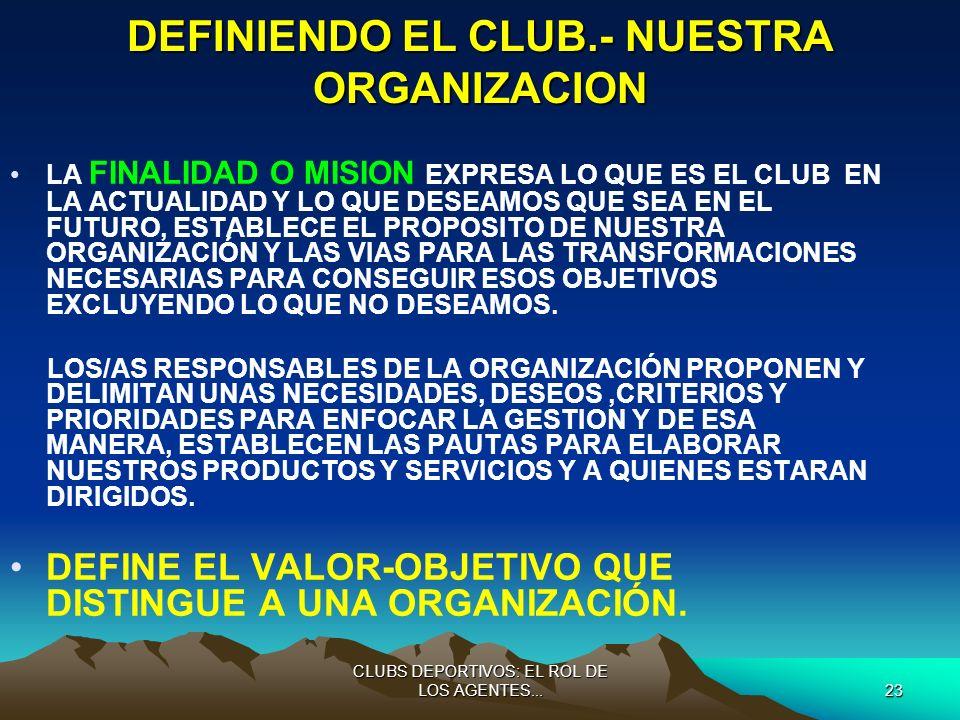 DEFINIENDO EL CLUB.- NUESTRA ORGANIZACION