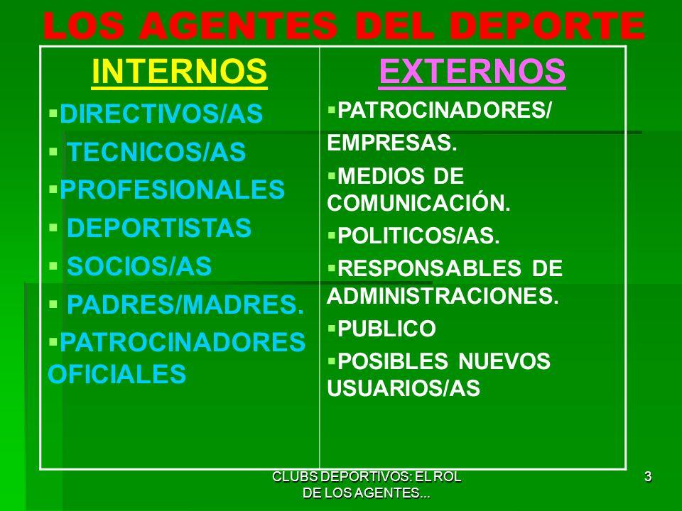 LOS AGENTES DEL DEPORTE
