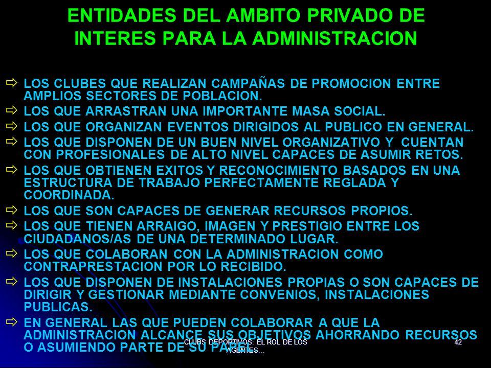 ENTIDADES DEL AMBITO PRIVADO DE INTERES PARA LA ADMINISTRACION