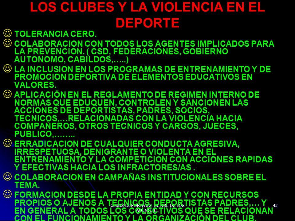 LOS CLUBES Y LA VIOLENCIA EN EL DEPORTE