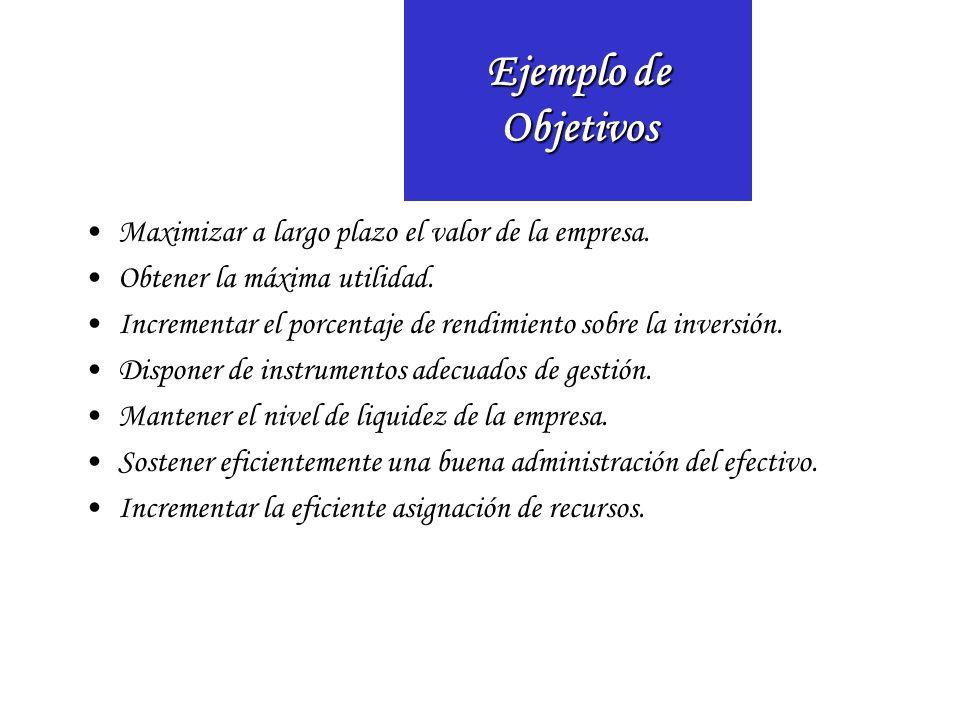 Ejemplo de Objetivos Maximizar a largo plazo el valor de la empresa.