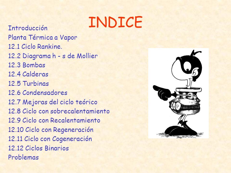 INDICE Introducción Planta Térmica a Vapor 12.1 Ciclo Rankine.