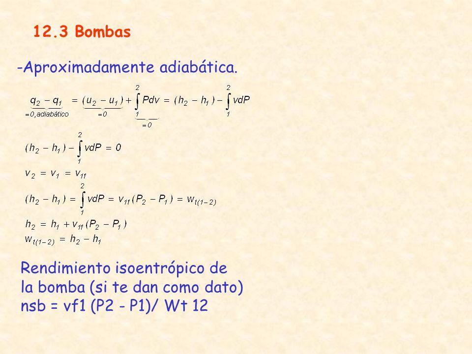 12.3 Bombas -Aproximadamente adiabática. Rendimiento isoentrópico de la bomba (si te dan como dato)