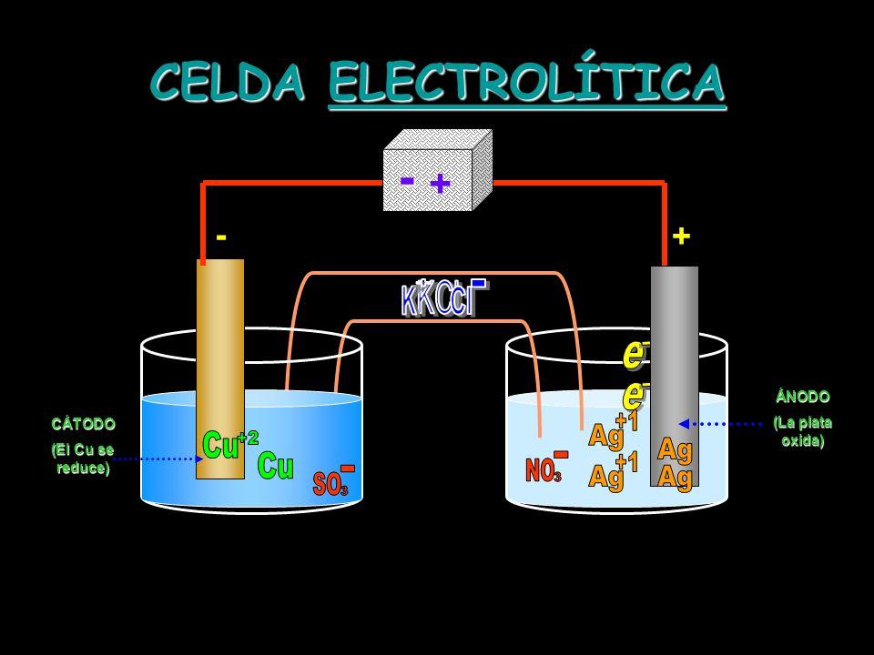 CELDA ELECTROLÍTICA - Ag +1 Cu +2 Ag Cu Ag +1 Ag + - + KCl K Cl - 3 3