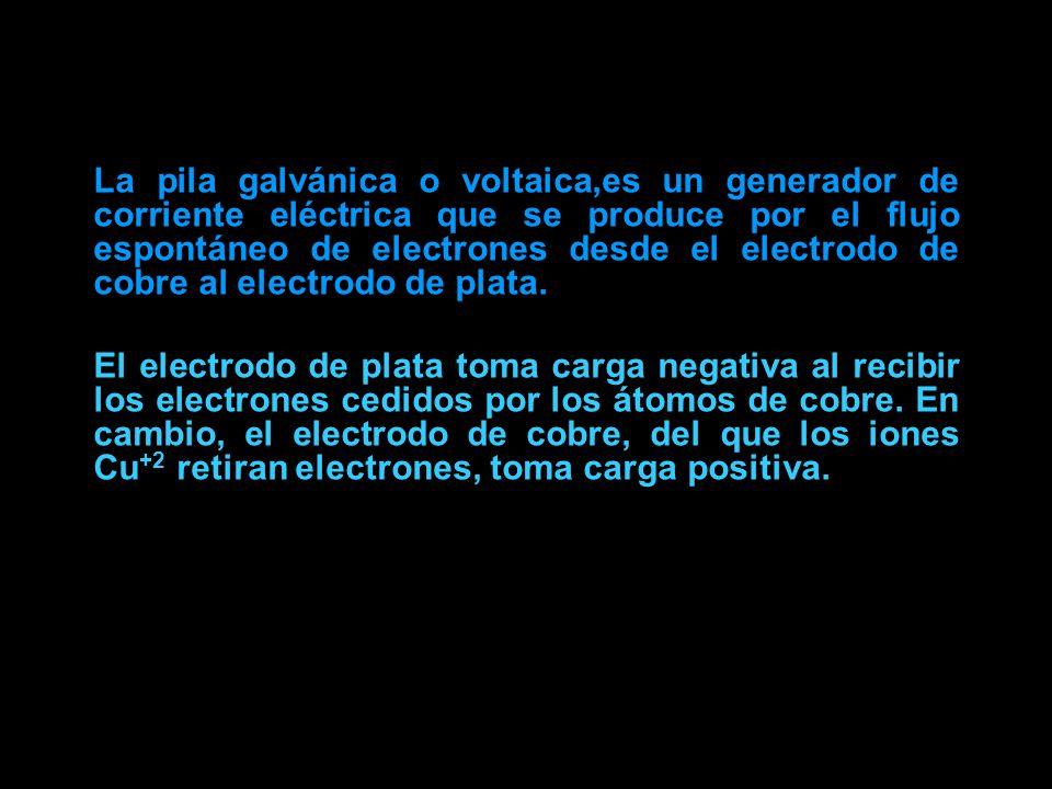 La pila galvánica o voltaica,es un generador de corriente eléctrica que se produce por el flujo espontáneo de electrones desde el electrodo de cobre al electrodo de plata.