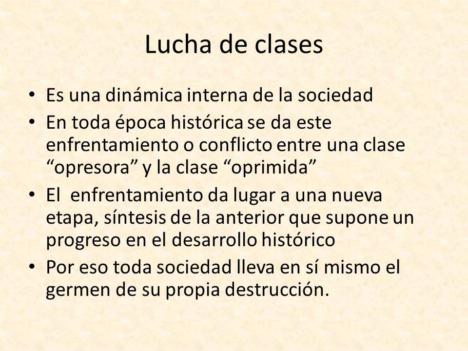 Lucha de clases Es una dinámica interna de la sociedad