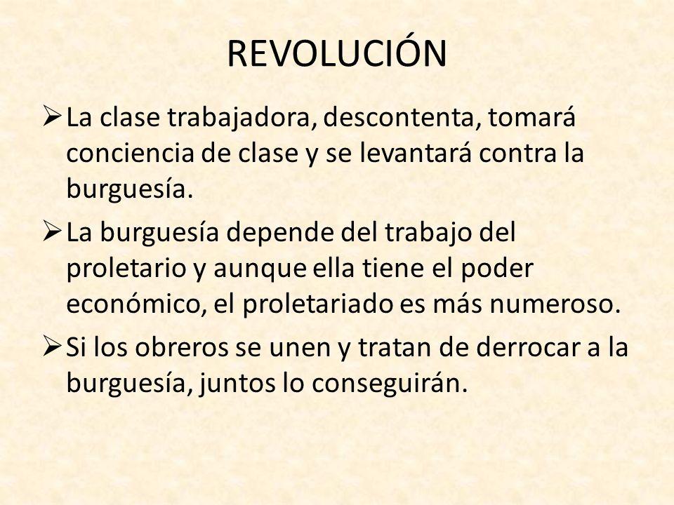REVOLUCIÓNLa clase trabajadora, descontenta, tomará conciencia de clase y se levantará contra la burguesía.