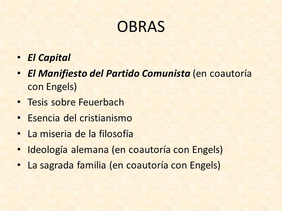 OBRASEl Capital. El Manifiesto del Partido Comunista (en coautoría con Engels) Tesis sobre Feuerbach.