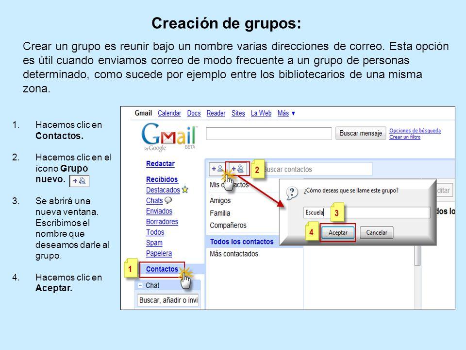 Creación de grupos: