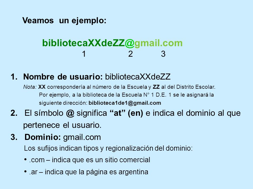 bibliotecaXXdeZZ@gmail.com Veamos un ejemplo: 1 2 3