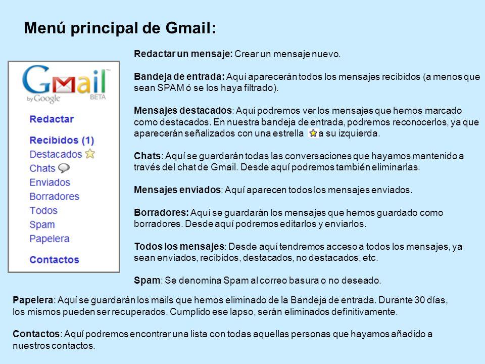 Menú principal de Gmail: