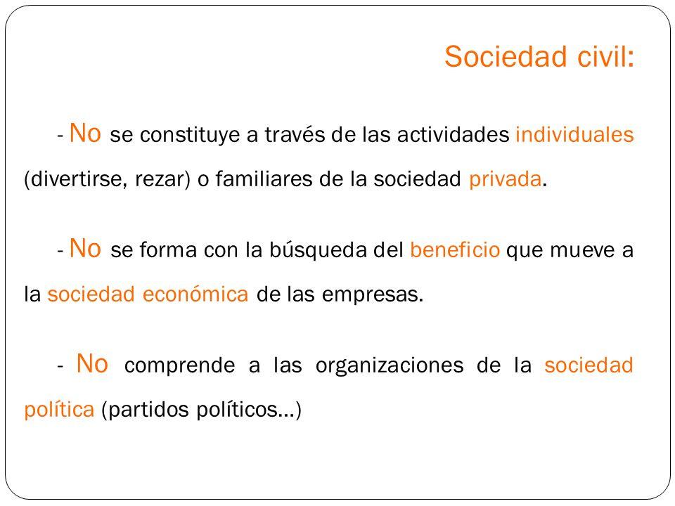 Sociedad civil: - No se constituye a través de las actividades individuales (divertirse, rezar) o familiares de la sociedad privada.