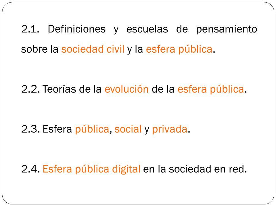 2.1. Definiciones y escuelas de pensamiento sobre la sociedad civil y la esfera pública.