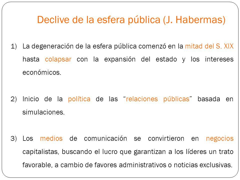 Declive de la esfera pública (J. Habermas)