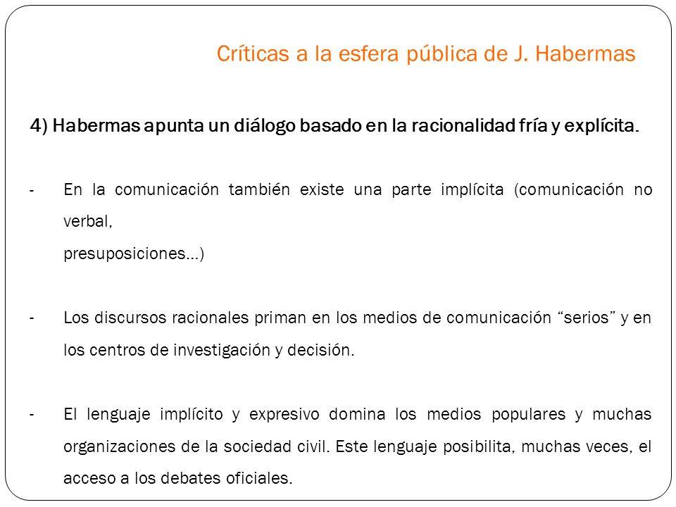Críticas a la esfera pública de J. Habermas