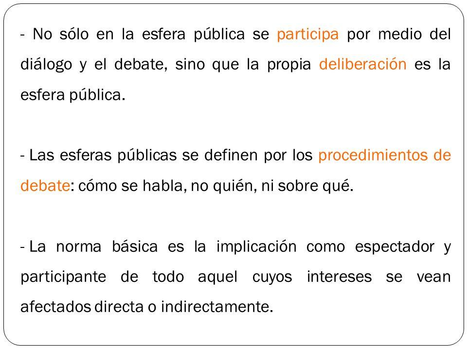 - No sólo en la esfera pública se participa por medio del diálogo y el debate, sino que la propia deliberación es la esfera pública.