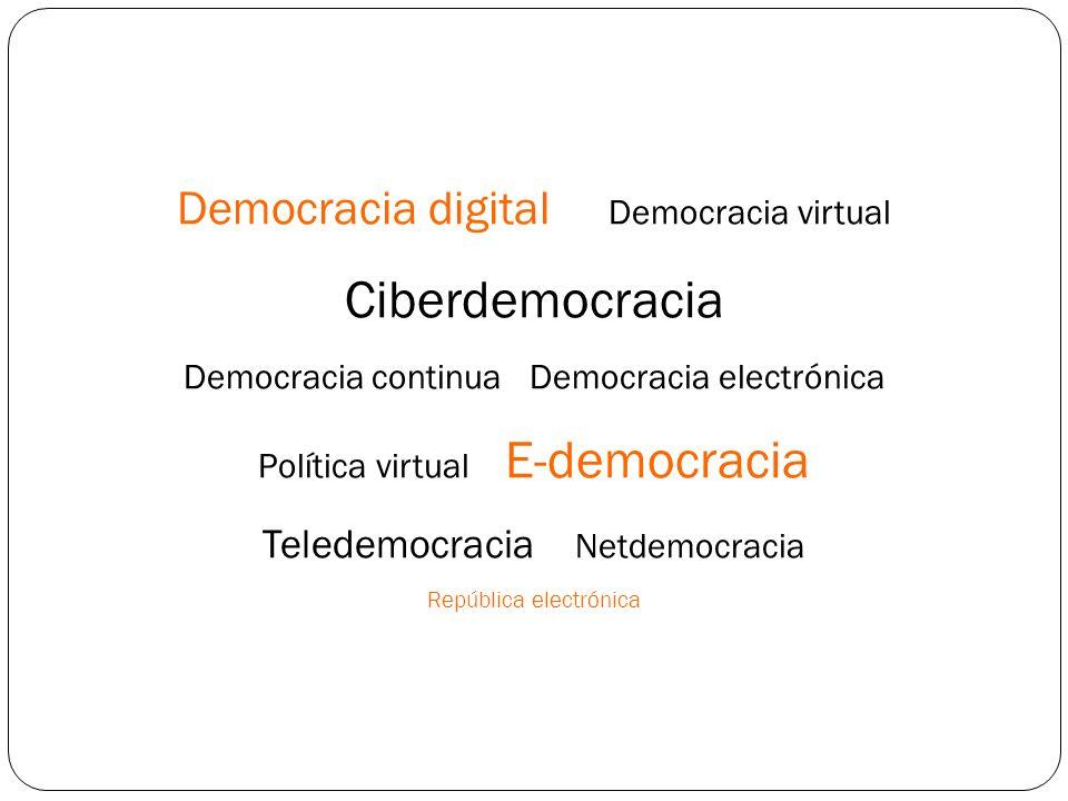 Democracia digital Democracia virtual Ciberdemocracia Democracia continua Democracia electrónica Política virtual E-democracia Teledemocracia Netdemocracia República electrónica
