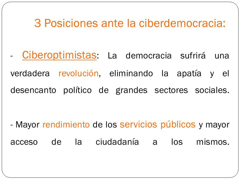 3 Posiciones ante la ciberdemocracia: