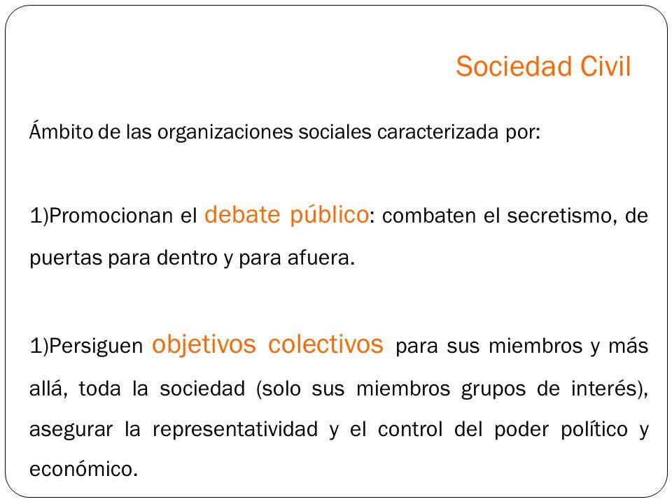 Sociedad Civil Ámbito de las organizaciones sociales caracterizada por: