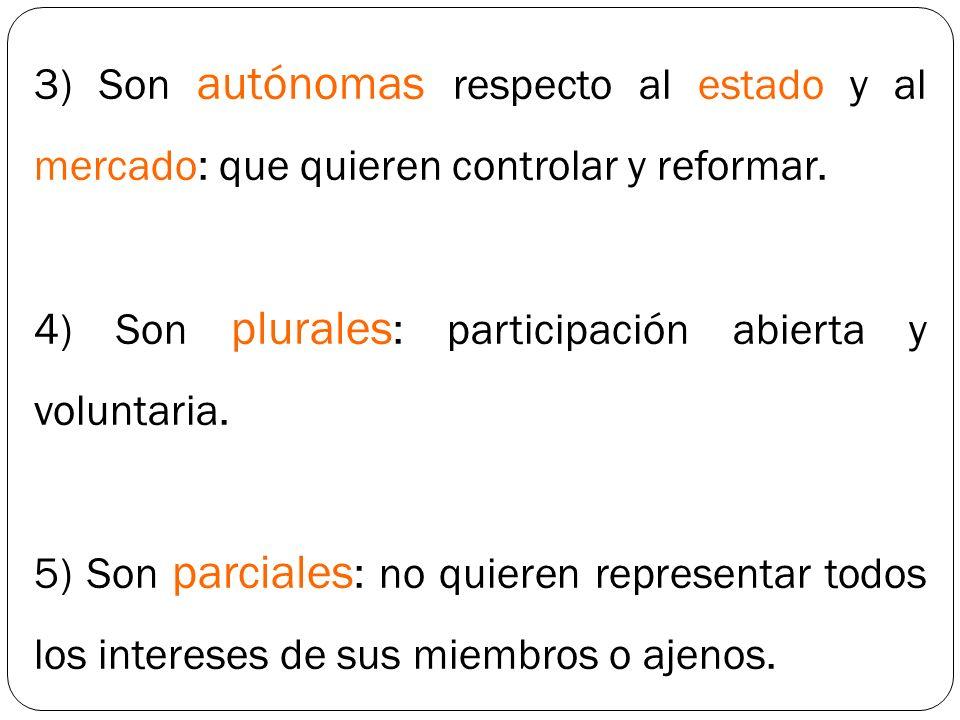 3) Son autónomas respecto al estado y al mercado: que quieren controlar y reformar.